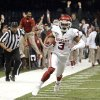 Oklahoma\'s Sterling Shepard (3) runs up field for a touchdown during the NCAA football BCS Sugar Bowl game between the University of Oklahoma Sooners (OU) and the University of Alabama Crimson Tide (UA) at the Superdome in New Orleans, La., Thursday, Jan. 2, 2014. Photo by Sarah Phipps, The Oklahoman