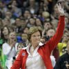 FILE - In this Sunday, April 1, 2012 file photo, Tennessee coach Pat Summitt waves to the crowd during a half-time ceremony to honor past olympic coaches at an NCAA women\'s Final Four semifinal college basketball game between the Baylor and Stanford, in Denver. Summitt\'s retirement was voted the No. 2 Tennessee story in 2012. (AP Photo/Julie Jacobson, File)