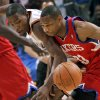 Oklahoma City\'s Kevin Durant fouls Philadelphia\'s Willie Green as he goes for a steal during the first half of their NBA basketball game at the Ford Center in Oklahoma City on Tuesday, Dec. 2, 2009. By John Clanton, The Oklahoman