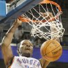 Oklahoma City\'s Kevin Durant dunks the ball against the Dallas Mavericks in the second period during their preseason NBA basketball game at Intrust bank Arena in Wichita, Kan,Wednesday Oct. 24, 2012. (AP Photo/The Wichita Eagle, Fernando Salazar) ORG XMIT: KSWIE105