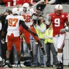 Dantrell Savage of OSU celebrates his touchdown with Brandon Pettigrew as Bryan Wilson of Nebraska walks off the field during the college football game between Oklahoma State University (OSU) and the University of Nebraska at Memorial Stadium in Lincoln, Neb., on Saturday, Oct. 13, 2007. By Bryan Terry, The Oklahoman