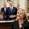 Gov. Mary Fallin delivers her 2012 State of the State address to a joint session of the Oklahoma Legislature in the House Chamber on the opening day of the session, Monday, Feb, 6, 2010. Behind her are legislative leaders President Pro Tempore Sen. Brian Bingman, left, Lt. Gov. Todd Lamb and House Speaker Kris Steele. Photo by Jim Beckel, The Oklahoman