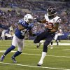 Houston Texans\' Arian Foster (23) runs against Indianapolis Colts\' Antoine Bethea during the second half of an NFL football game, Sunday, Dec. 30, 2012, in Indianapolis. (AP Photo/Michael Conroy)