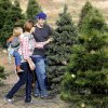 Photo - Chad and Joy Barnes, of Oklahoma City, with their son, Evan, 3, and daughter, Adelyn, 17 months, search for a Christmas tree at Sorghum Mill Christmas Tree and Blackberry Farm on N Midwest Boulevard, north of Coffee Creek.