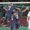 Photo -   Paris Saint Germain's Swedish player Zlatan Ibrahimovic, right, celebrates his opening penalty goal with his teammates Italian Marco Verratti, center and Jeremy Menez, left, during a group A Champions League round, first leg, soccer match at Parc des Princes stadium in Paris, Tuesday, Sept. 18, 2012. (AP Photo/Michel Euler)