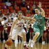 Oklahoma\'s Morgan Hook (10) brings the ball down court defended by North Texas\' Hannah Christian (00) as the University of Oklahoma Sooners (OU) play the North Texas Mean Green in NCAA, women\'s college basketball at The Lloyd Noble Center on Thursday, Dec. 6, 2012 in Norman, Okla. Photo by Steve Sisney, The Oklahoman