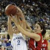 Mount Saint Mary\'s Aimee Rishcard (2) and Fort Gibson\'s Savannah Gray (11) battle for a rebound during the state high school basketball tournament Class 4A girls championship game between Fort Gibson High School and Mount St. Mary High School at the State Fair Arena on Saturday, March 9, 2013, in Oklahoma City, Okla. Photo by Chris Landsberger, The Oklahoman