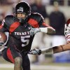 "Photo - Texas Tech's uniforms (seen here worn by former Red Raider Michael Crabtree) were popular among Big 12 players, receiving 26 percent of the vote for ""best uniforms."" By Nate Billings, The Oklahoman Archive"