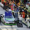 Kyle Busch pits during a NASCAR Sprint Cup Series auto race, Sunday, Sept. 30, 2012, at Dover International Speedway in Dover, Del. (AP Photo/Nick Wass)