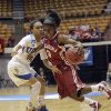 Oklahoma\'s Aaryn Ellenberg, right, brings the ball up court as UCLA\'s Mariah Williams defends during the second half of a second-round game in the women\'s NCAA college basketball tournament Monday, March 25, 2013, in Columbus, Ohio. Oklahoma beat UCLA 85-72. (AP Photo/Jay LaPrete) ORG XMIT: OHJL109