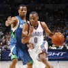 Oklahoma City\'s Russell Westbrook drives the ball past Sebastian Telfair of Minnesota during the NBA basketball game between the Oklahoma City Thunder and the Minnesota Timberwolves at the Ford Center in Oklahoma City, Friday, Nov. 28, 2008. BY NATE BILLINGS, THE OKLAHOMAN ORG XMIT: KOD