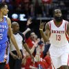Oklahoma City\'s Thabo Sefolosha stands beside Houston\'s James Harden as Harden celebrates a basket during Game 6 in the first round of the NBA playoffs between the Oklahoma City Thunder and the Houston Rockets at the Toyota Center in Houston, Texas, Friday, May 3, 2013. Photo by Bryan Terry, The Oklahoman