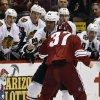 Phoenix Coyotes\' Raffi Torres (37) fights with Chicago Blackhawks\' Jamal Mayers (22) during the first period in an NHL hockey game Thursday, Feb. 7, 2013, in Glendale, Ariz.(AP Photo/Ross D. Franklin)