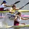 Contestants power their kayaks to finish line in flatwater sprint racing event during the USA Canoe/Kayak Sprint National Championships and Masters National Championships on the Oklahoma River Tuesday, Aug. 5, 2008. BY JIM BECKEL, THE OKLAHOMAN