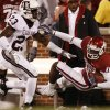 Oklahoma\'s Jaz Reynolds (16) pulls in a pass past Texas A&M\'s Steven Terrell (23) during the second half of the college football game between the University of Oklahoma Sooners (OU) and the Texas A&M Aggies at Gaylord Family-Memorial Stadium on Saturday, Nov. 14, 2009, in Norman, Okla. Photo by Chris Landsberger, The Oklahoman