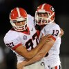 Photo -   Georgia kicker Marshall Morgan, right, is congratulated by teammate Adam Erickson after kicking a 52-yard field goal during the second quarter of an NCAA college football game against Missouri Saturday, Sept. 8, 2012, in Columbia, Mo. (AP Photo/L.G. Patterson)