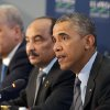 Photo - President Barack Obama, joined by Prime Minister of Algeria Abdelmalek Sellal, left, and President of Mauritania Mohamed Ould Abdel Aziz, center, speaks during at the opening session at the US Africa Leaders Summit in Washington, Wednesday, Aug. 6, 2014. Obama and dozens of African leaders opened talks on two key issues that threaten to disrupt economic progress on the continent: security and government corruption. (AP Photo/Jacquelyn Martin)