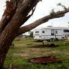 Photo - TORNADO DEBRIS / DAMAGE / ANNIVERSARY / HOWARD DUNSWORTH / JACKIE DUNSWORTH: A trailer on the Dunsworth property near Shawnee, Okla Wednesday, June 9, 2010.  The family is living in trailers one month after a tornado demolished their newly rebuilt home.  Photo by Miranda Grubbs, The Oklahoman ORG XMIT: KOD