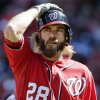 Washington Nationals\' Jayson Werth reacts after striking out during the first inning of Game 1 of the National League division baseball series against the St. Louis Cardinals, Sunday, Oct. 7, 2012, in St. Louis. (AP Photo/Charlie Riedel)