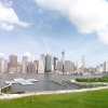 This artist\'s rendering provided by Plus Pool, on Tuesday, April 22, 2014, shows the proposed floating pool which is to be positioned in New York\'s East River close to the Brooklyn shore. The pool, which is scheduled to open in 2016, would be the first of its kind because it\'s made of filtration material designed to make dirty river water safe for swimming. The Manhattan skyline is in the background. (AP Photo/Plus Pool)