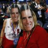 Michigan delegates Carol Knoblauch, left, and Barbara Brady fashion their masks of Republican presidential nominee Mitt Romney at the Republican National Convention in Tampa, Fla., on Thursday, Aug. 30, 2012. (AP Photo/Jae C. Hong) ORG XMIT: RNC721
