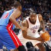 Oklahoma City\'s Kendrick Perkins (5) looks to get the ball past Greg Monroe (10) of Detroit during the NBA basketball game between the Detroit Pistons and Oklahoma City Thunder at the Chesapeake Energy Arena in Oklahoma City, Monday, Jan. 23, 2012. Photo by Nate Billings, The Oklahoman