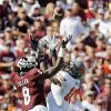 Oklahoma State\'s Markelle Martin (10) defends Texas A&M\'s Jeff Fuller (8) as he attempts to haul in a pass in the first half of their game Saturday in College Station, Texas. Photo by Nate Billings, The Oklahoman