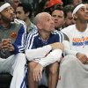 From left, New York Knicks\' Kenyon Martin, Jason Kidd and Carmelo Anthony watch from the bench during the first half of an NBA basketball game against the Philadelphia 76ers, Sunday, Feb. 24, 2013, at Madison Square Garden in New York. (AP Photo/Mary Altaffer)