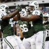Photo -   New York Jets running back Terrance Ganaway (42) and tackle Austin Howard (77) celebrate after a touchdown by Ganaway in the first half of a preseason NFL football game against the Philadelphia Eagles, Thursday, Aug. 30, 2012, in Philadelphia. (AP Photo/Matt Rourke)