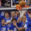 Oklahoma City\'s Kevin Durant (35) watches his shot go in the basket in front of Miami\'s Chris Bosh (1) after being fouled during Game 1 of the NBA Finals between the Oklahoma City Thunder and the Miami Heat at Chesapeake Energy Arena in Oklahoma City, Tuesday, June 12, 2012. Photo by Nate Billings, The Oklahoman