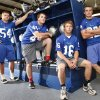 Photo - L-R: Guthrie High School football players Blake Belcher, Landry Chappell, Bryan Dutton, and Luke Davis pose in the locker room at Guthrie High School in Guthrie, OK, Thursday, July 7, 2011. By Paul Hellstern, The Oklahoman ORG XMIT: KOD