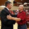 Photo - Former baseball head coach Larry Cochell, right, greets Pete Hughes after he is introduced as the University of Oklahoma (OU) Sooners new baseball coach on Thursday, June 27, 2013 in Norman, Okla. Photo by Steve Sisney, The Oklahoman