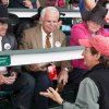 """Photo -  From left, Mark Allen, played by Oklahoma-bred actor Christian Kane, Leonard Doc Blach, played by William Devane, producer and director Jim Wilson and Joanne Blach, played by Tish Rayburn-Miller, talk about a scene during filming at Churchill Downs for the movie """"50 to 1."""""""