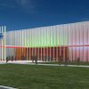 Plans for the main entrance of the remodeled Science Museum Oklahoma would replace the building\'s concrete exterior with an off-white wall that incorporates light features. Image provided