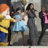 Singer Jordin Sparks, second from right, performs during the grand opening ceremony for the New Fantasyland attraction at the Walt Disney World Resort\'s Magic Kingdom theme park in Lake Buena Vista, Fla., Thursday, Dec. 6, 2012. The new attraction is the largest expansion at the Magic Kingdom.(AP Photo/Phelan M. Ebenhack)