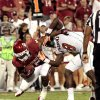 Dominique Whaley (8) scores past Brandon Denmark (8) during the second half of the college football game between the University of Oklahoma Sooners (OU) and Florida A&M Rattlers at Gaylord Family—Oklahoma Memorial Stadium in Norman, Okla., Saturday, Sept. 8, 2012. Photo by Steve Sisney, The Oklahoman