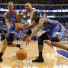 Oklahoma City\'s Eric Maynor (6) and James Harden (13) go for the ball between Shawn Marion (10) of Dallas during game 1 of the Western Conference Finals in the NBA basketball playoffs between the Dallas Mavericks and the Oklahoma City Thunder at American Airlines Center in Dallas, Tuesday, May 17, 2011. Photo by Bryan Terry, The Oklahoman