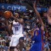 Oklahoma City\'s James Harden (13) looks to pass the ball beside New York\'s Jared Jeffries (9) during the NBA game between the Oklahoma City Thunder and the New York Knicks at Chesapeake Energy Arena in Oklahoma CIty, Saturday, Jan. 14, 2012. Photo by Bryan Terry, The Oklahoman