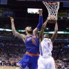 Oklahoma City\'s Serge Ibaka (9) grabs a rebound from New YorK\'s Tyson Chandler (6) during NBA basketball game between the Oklahoma City Thunder and the New York Knicks at the Chesapeake Energy Arena, Sunday, April 7, 2010, in Oklahoma City. Photo by Sarah Phipps, The Oklahoman