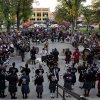 Photo - Pipe and drum bands from various fire departments across the country gather at Courthouse Plaza, Monday, July 8, 2013 in Prescott, Ariz. to practice for Tuesday's memorial service honoring the 19 Granite Mountain Hotshot firefighters who died fighting a blaze last week near Yarnell, Ariz. (AP Photo/Julie Jacobson)