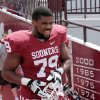 Daryl Williams (79) steps onto the filed before the annual Spring Football Game at Gaylord Family-Oklahoma Memorial Stadium in Norman, Okla., on Saturday, April 13, 2013. Photo by Steve Sisney, The Oklahoman