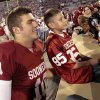 Blake Bell (10) poses with fans after the college football game where the University of Oklahoma Sooners (OU) defeated the University of Kansas Jayhawks (KU) 52-7 at Gaylord Family-Oklahoma Memorial Stadium in Norman, Okla., on Saturday, Oct. 20, 2012. Photo by Steve Sisney, The Oklahoman