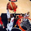 United States\' LeBron James (6) dunks against Spain during the men\'s gold medal basketball game at the 2012 Summer Olympics in London on Sunday, Aug. 12, 2012. (AP Photo/Christian Petersen, Pool)