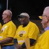 Former University of Oklahoma great Roy Bell, center, and the rest of the 1967 state championship high school football team from Clinton is recognized Friday night at halftime of the Clinton-Elk City football game at the Tornado Bowl. Photo by Ed Godfrey, The Oklahoman