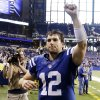 Photo -   Indianapolis Colts quarterback Andrew Luck celebrates as he leaves the field following an NFL football game against the Miami Dolphins in Indianapolis, Sunday, Nov. 4, 2012. The Colts won 23-20. (AP Photo/Darron Cummings)