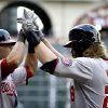 Photo - Washington Nationals' Jayson Werth, right, is congratulated by Ian Desmond after hitting a home run against the Houston Astros during the first inning of a baseball game Tuesday, April 29, 2014, in Houston. (AP Photo/David J. Phillip)