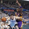 Oklahoma City\'s Nick Collison battles for the ball with Los Angeles\' Kobe Bryant during Game 2 in the second round of the NBA playoffs between the Oklahoma City Thunder and the L.A. Lakers at Chesapeake Energy Arena on Wednesday, May 16, 2012, in Oklahoma City, Oklahoma. Photo by Chris Landsberger, The Oklahoman