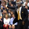 Utah Jazz head coach Tyrone Corbin shouts at an official over a call in the first half during an NBA basketball game against the Portland Trail Blazers, Friday, Feb. 1, 2013, in Salt Lake City. (AP Photo/Steve C. Wilson)