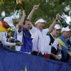 Europe\'s Sergio Garcia, left to right, Graeme McDowell, Ian Poulter, Justin Rose and Peter Hanson celebrate after winning the Ryder Cup PGA golf tournament Sunday, Sept. 30, 2012, at the Medinah Country Club in Medinah, Ill. (AP Photo/Charlie Riedel) ORG XMIT: PGA238