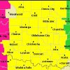 Counties in yellow are under a tornado watch until 10 p.m.
